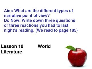 Lesson 10 		World Literature
