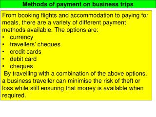 Methods of payment on business trips