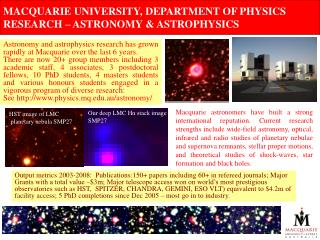 MACQUARIE UNIVERSITY, DEPARTMENT OF PHYSICS RESEARCH – ASTRONOMY & ASTROPHYSICS