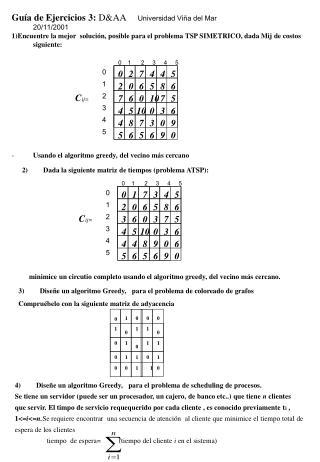 Guía de Ejercicios 3:  D&AA      Universidad Viña del Mar 20/11/2001