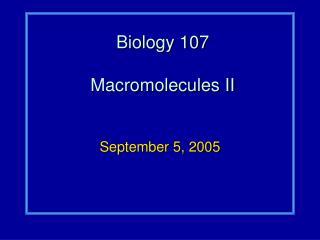 Biology 107 Macromolecules II