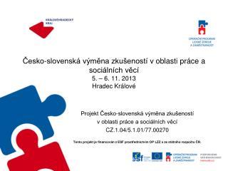 Projekt Česko-slovenská výměna zkušeností  voblasti práce a sociálních věcí