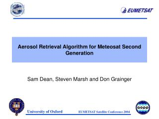 Aerosol Retrieval Algorithm for Meteosat Second Generation