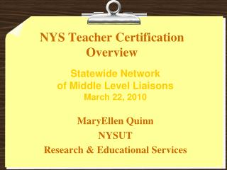 NYS Teacher Certification Overview