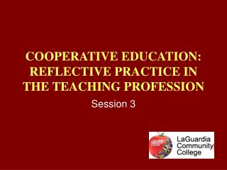 COOPERATIVE EDUCATION:  REFLECTIVE PRACTICE IN THE TEACHING PROFESSION
