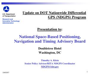 Update on DOT Nationwide Differential GPS (NDGPS) Program
