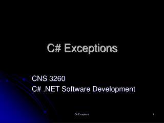 C# Exceptions