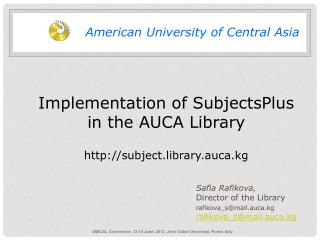 Implementation of SubjectsPlus  in the AUCA Library subject.library.auca.kg