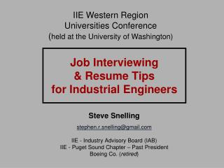 Job Interviewing  & Resume Tips  for Industrial Engineers