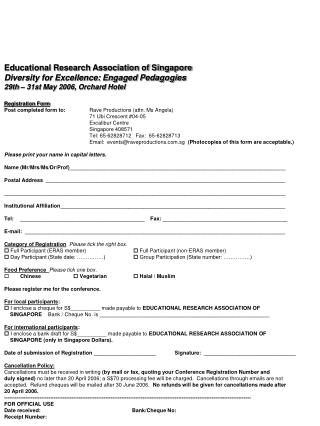 Registration Form Post completed form to:	 Rave Productions (attn. Ms Angela)