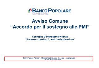"""Avviso Comune  """"Accordo per il sostegno alle PMI"""" Convegno Confindustria Vicenza"""