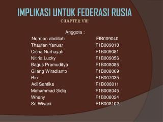 IMPLIKASI UNTUK FEDERASI RUSIA CHAPTER VIII