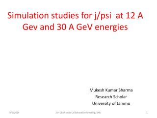 Simulation studies for j/psi  at 12 A Gev and 30 A GeV energies