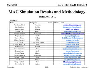 MAC Simulation Results and Methodology