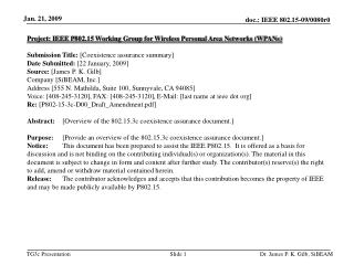 Project: IEEE P802.15 Working Group for Wireless Personal Area Networks (WPANs) ?