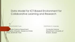 Data Model for ICT-Based Environment for Collaborative Learning and Research