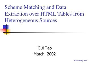 Scheme Matching and Data Extraction over HTML Tables  from Heterogeneous Sources