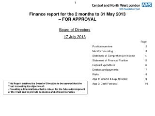 Finance report for the 2 months to 31 May 2013  – FOR APPROVAL