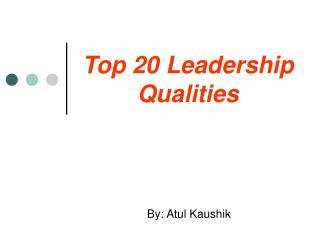 Top 20 Leadership Qualities