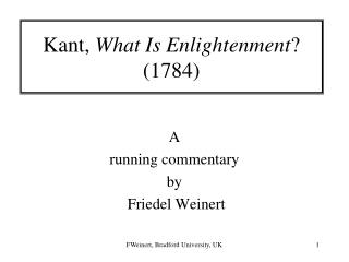 Kant,  What Is Enlightenment ? (1784)