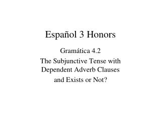 Español 3 Honors
