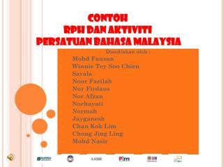 CONTOH  RPH DAN AKTIVITI  PERSATUAN BAHASA MALAYSIA