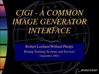 CIGI - A COMMON  IMAGE GENERATOR  INTERFACE