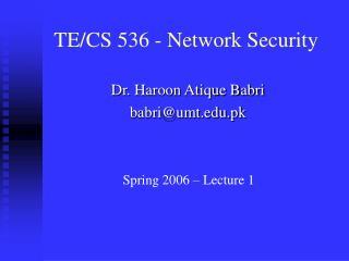 TE/CS 536 - Network Security