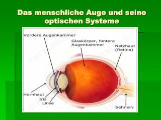 Das menschliche Auge und seine optischen Systeme