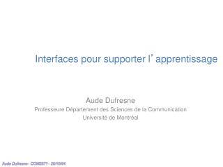 Interfaces pour supporter l � apprentissage