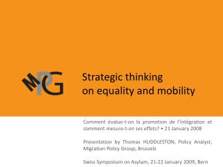 Strategic thinking                              on equality and mobility