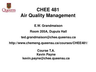 CHEE 481  Air Quality Management