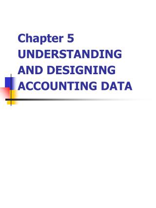 Chapter 5  UNDERSTANDING AND DESIGNING ACCOUNTING DATA