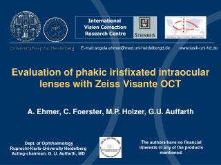 Evaluation of phakic irisfixated intraocular lenses with Zeiss Visante OCT
