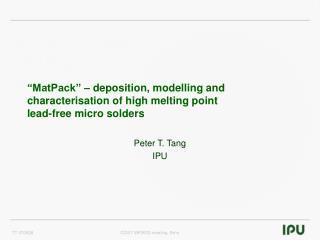 Peter T. Tang IPU