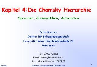 Kapitel 4:Die Chomsky Hierarchie