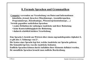 8. Formale Sprachen und Grammatiken