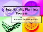 Intentionality Planning Process