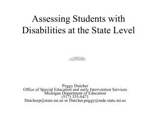 Assessing Students with Disabilities at the State Level