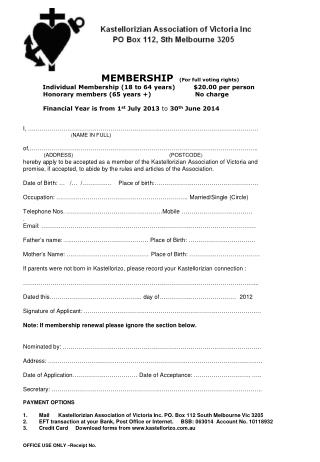 MEMBERSHIP (For full voting rights)