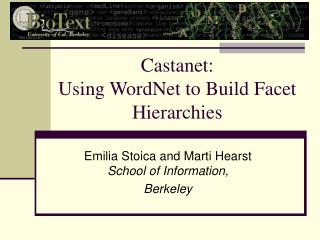 Castanet: Using WordNet to Build Facet Hierarchies