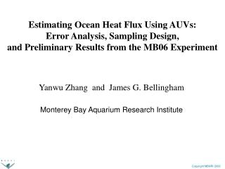 Yanwu Zhang  and  James G. Bellingham Monterey Bay Aquarium Research Institute