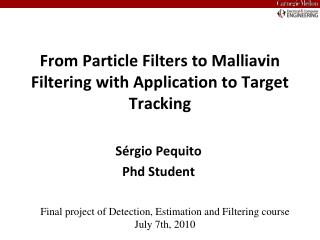 From Particle Filters to Malliavin Filtering with Application to Target Tracking