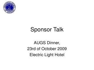 Sponsor Talk
