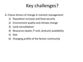 Key challenges?