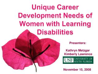 Unique Career Development Needs of Women with Learning Disabilities