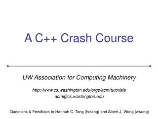 A C++ Crash Course