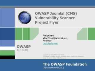 OWASP Joomla! (CMS) Vulnerability Scanner Project Flyer
