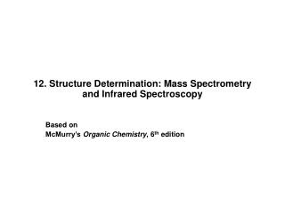 12. Structure Determination: Mass Spectrometry and Infrared Spectroscopy