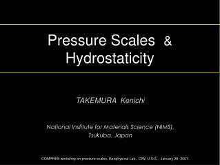 Pressure Scales   &   Hydrostaticity